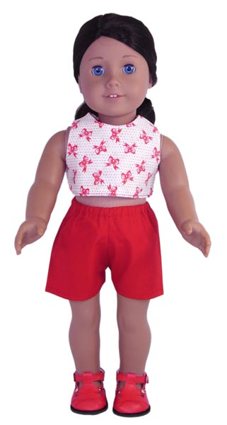 18 Inch American Girl Crop Top & Sports Shorts Doll Clothes Patterns