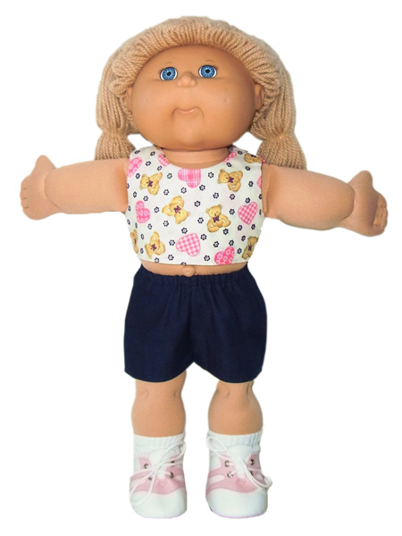 18.5 Inch Cabbage Patch Kids Crop Top & Sports Shorts Doll Clothes Pattern