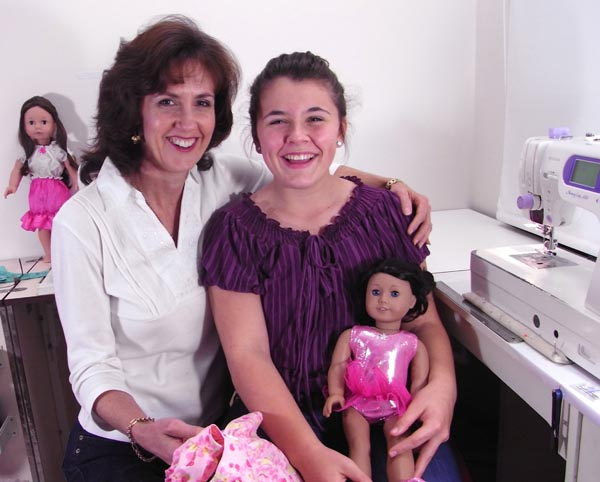 Mom and Daughter sewing doll clothes patterns