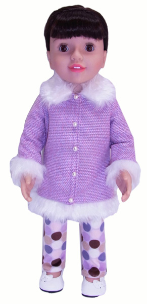 18 Inch American Girl Doll Clothes Patterns Fur Trimmed Jacket and Tights