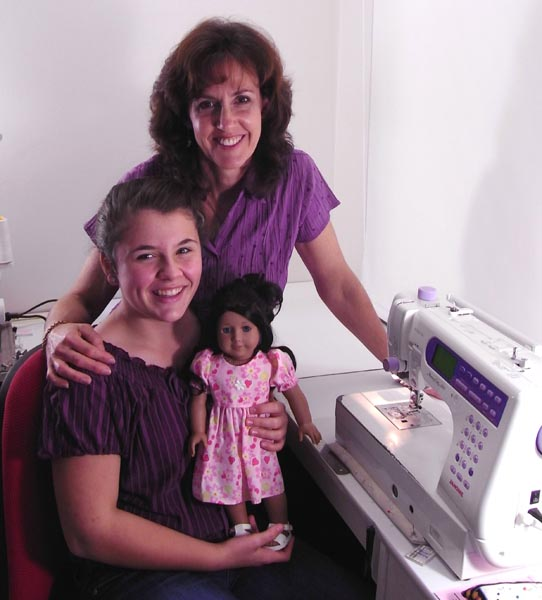 Rosie and Alyssa after finishing the How to Sew Doll Clothes Tutorials
