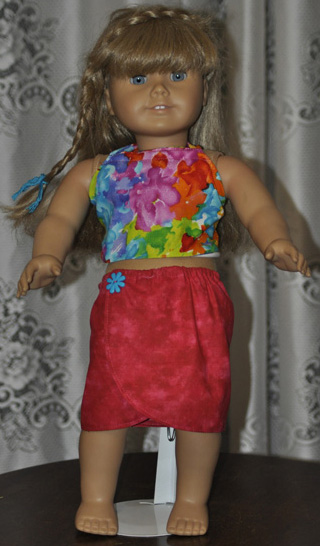 18 Inch American Girl Doll Clothes Patterns Sarong and Halter Top Mary Ann