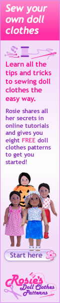 Rosies Doll Clothes Patterns banner version one 120x600