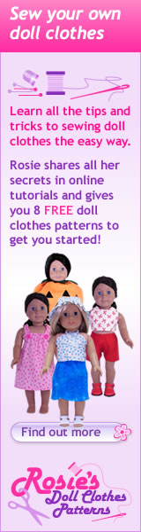 Rosies Doll Clothes Patterns banner version one 160x600