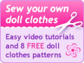 Rosies Doll Clothes Patterns banner version two 120x90