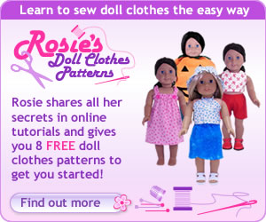 Rosies Doll Clothes Patterns banner version two 300x250