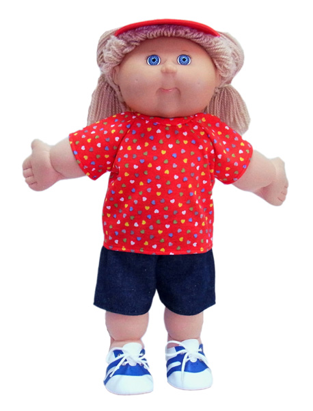 18.5 Cabbage Patch Kids Doll Clothes Patterns Tshirt Red