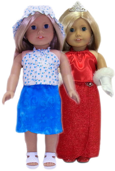 18 Inch American Girl Doll Clothes Patterns Short and Long Sarong