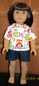 doll clothes patterns T-shirt and sports shorts made by Crystal