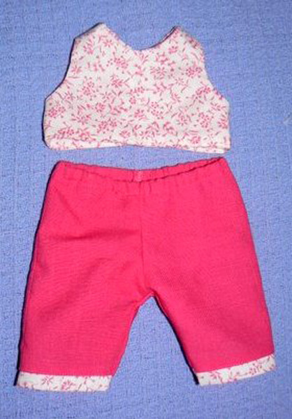 doll clothes patterns crop top and capri pants by Noreen