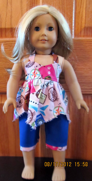 doll clothes patterns handkerchief top and capri pants by Crystal