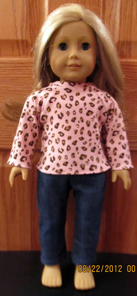 doll clothes patterns long sleeve t-shirt and jeans by Crystal