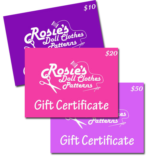 Gift Certificate Rosies Doll Clothes Patterns