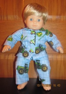Crystal Bitty Baby John Deere flannel pjs