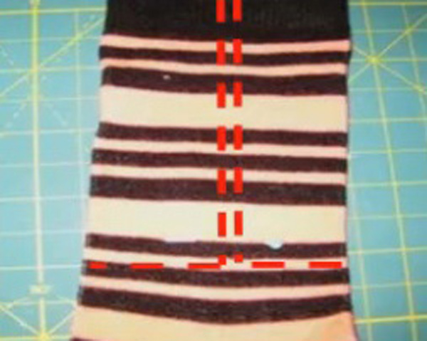 10. Socks showing alternate sewing lines before cutting