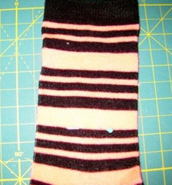 2.pin showing where bottom of sock will be