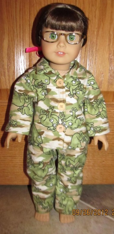 Crystal frog camo flannel pjs doll clothes patterns