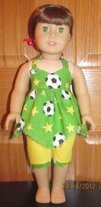 Crystal soccer handkerchief top and capris doll clothes patterns