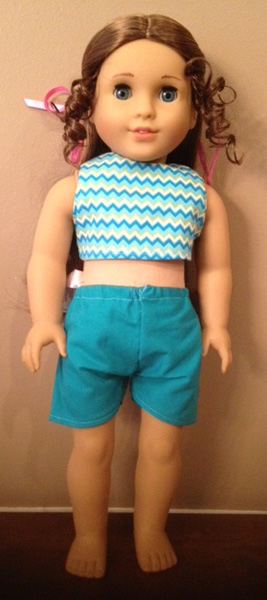 American Girl Doll crop top and sports shorts on Marie Grace by Suzanne