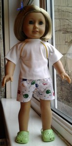 American Girl Doll sports shorts tshirt by katy
