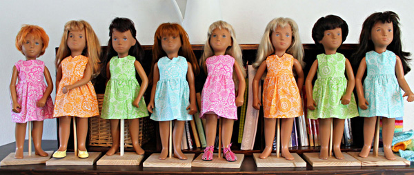 Sasha Dolls with clothes resized fro American Girl doll clothes patterns