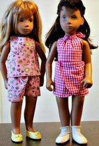Lauri Sasha Doll Clothes Patterns Resized Crop Top Sarong Halter Top and Shorts