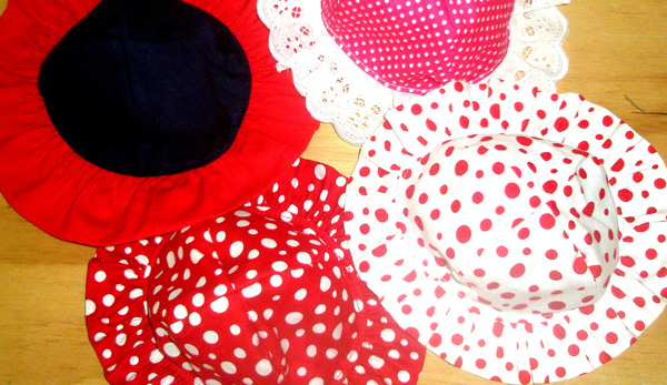 Debbi doll clothes frill hats  reversible one side