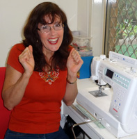 Rosie at the sewing machine