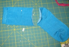 1. Cut off sock at heel
