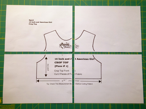 Crop Top Pattern at 150% x 4 pages