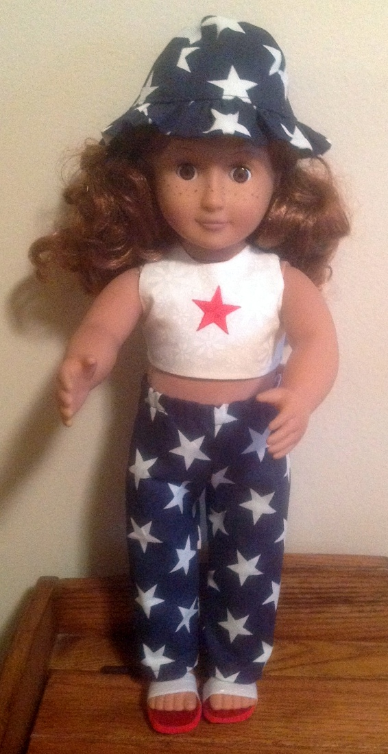 4th July crop top pants and hat Betty Ann Orman