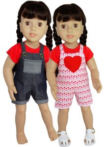 18 Inch American Girl Heart and Rectangular Pocket Overalls Doll Clothes Pattern