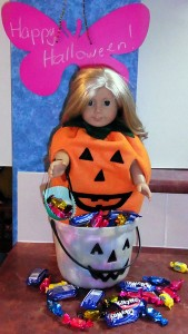 Pumpkin in candy jar