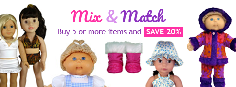 Buy five or more doll clothes patterns and save 20 percent