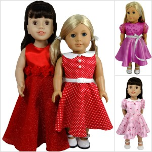 18 Inch American Girl Doll Clothes Pattern 50's dress Collage