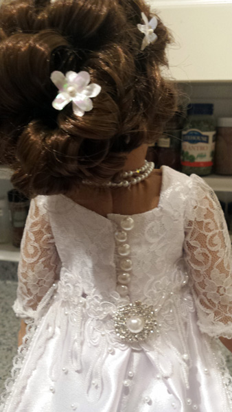 American Girl Doll Clothes Wedding Dress Sharon back view of button closure