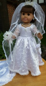 American Girl Doll Clothes Wedding Dress Sharon front view