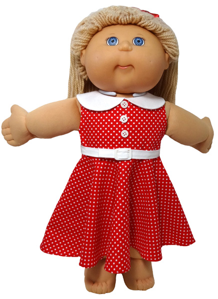 Cabbage Patch Kids Doll Clothes Pattern 50s Dress red