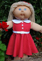 Cabbage Patch Kids Doll Clothes Pattern 50s red dress