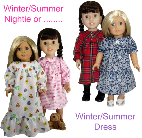 18 Inch American Girl Doll Clothes Patterns Winter Nightie and Summer Dress