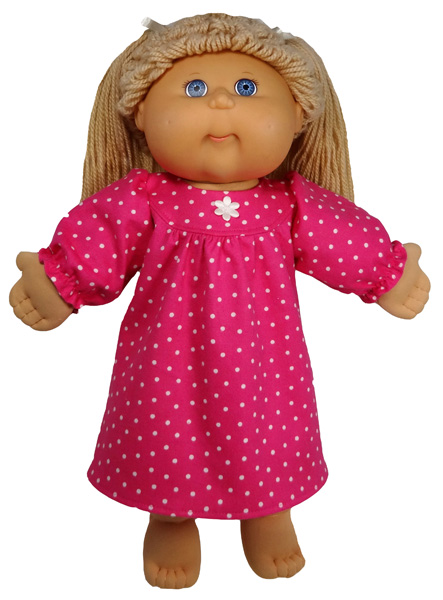 Cabbage Patch Kids winter nightie short doll clothes pattern