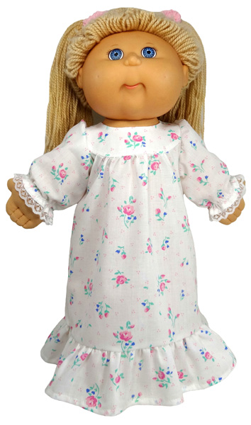 Cabbage Patch Kids winter nightie with ruffle doll clothes pattern