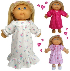 Winter Nightie doll clothes pattern Cabbage Patch Kids