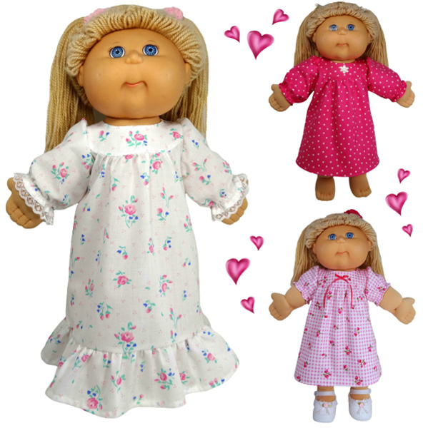 Cabbage Patch Kids Doll Clothes Patterns Winter Nightie and Summer Dress