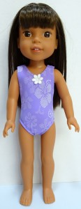 one piece swimsuit purple pattern Wellie Wishers Doll