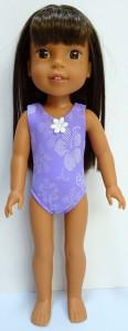one piece swimsuit purple pattern Wellie Wishers Doll