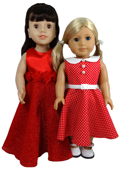 18 Inch American Girl Doll Clothes Pattern 50's dress long and short