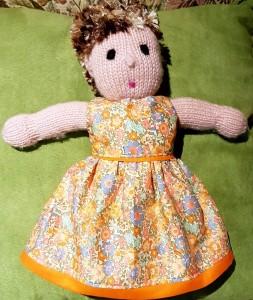 Jo summer dress pattern on knitted doll