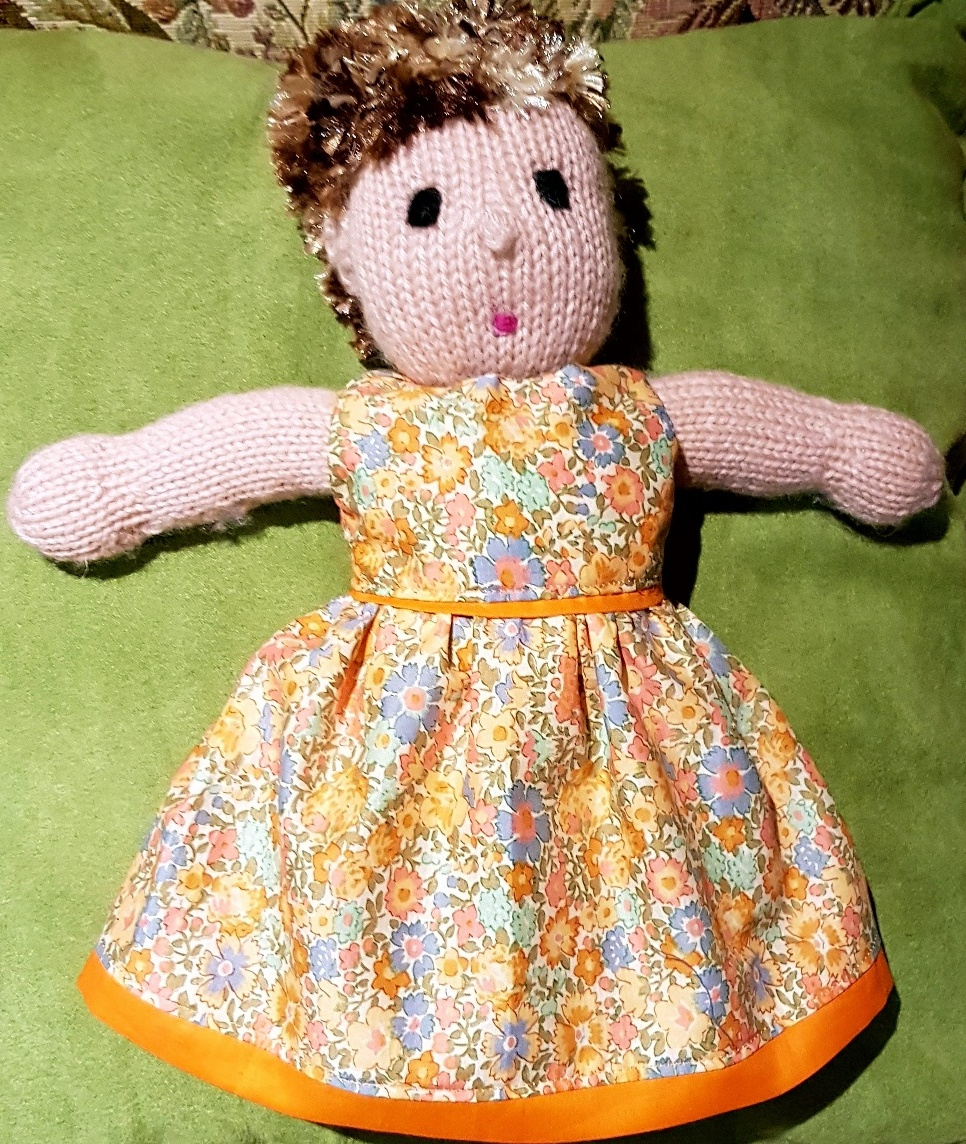 Jo summer dress pattern on knitted doll