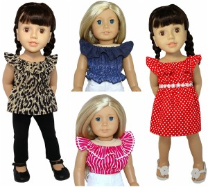 18 Inch American Girl Fun 'n Frilly Top doll clothes pattern